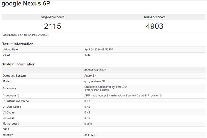 Leaked GeekBench Results of Nexus 6P(2)